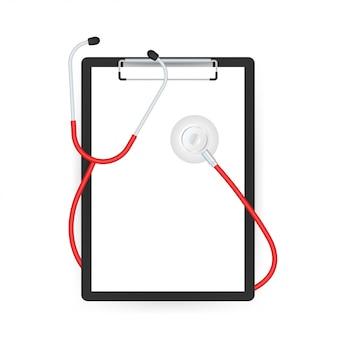 Estetoscópios e prancheta, equipamento médico para médico. ilustração em vetor das ações