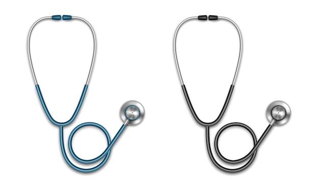 Estetoscópios médicos. equipamento para ouvir respiração. conceito de cuidados de saúde. estetoscópio de medicamentos. ilustração realista isolada no fundo branco