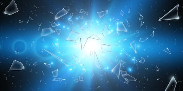 Estilhaços de vidro quebrado. explosão abstrata. ilustração.