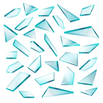 Estilhaços de vidro quebrado isolados no conjunto de vetor branco