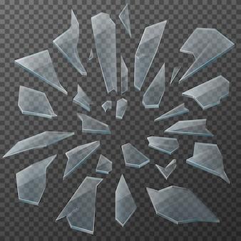 Estilhaços de vidro quebrado, peças transparentes realistas