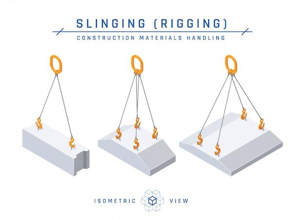 Estilingue de bloco de concreto, ilustração em estilo isométrico