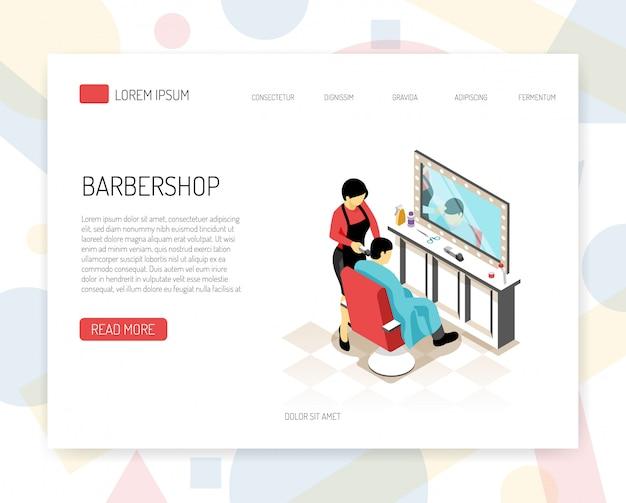 Estilista de barbeiro durante o conceito isométrico de trabalho de banner web com elementos de interface em branco