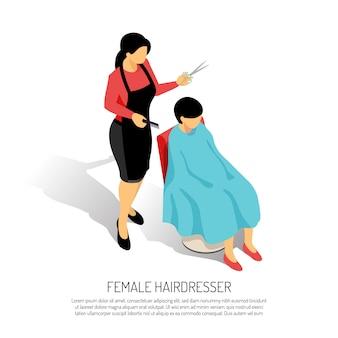 Estilista de cabelo feminino com pente e tesoura durante o trabalho em branco isométrico