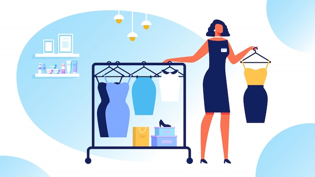 Estilista de mulher escolhe roupas. treinamento de estilo de beleza