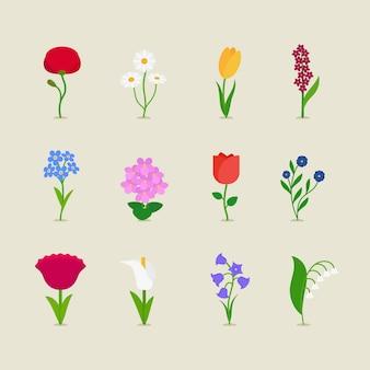 Estilizado mod flores conjunto de ícones