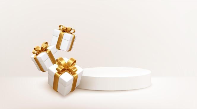Estilo 3d cena do pódio do produto com caixa de presente branca caindo voando com arco de ouro. feliz natal e ano novo desenho de bandeira festiva, cartão de felicitações. ilustração vetorial eps10