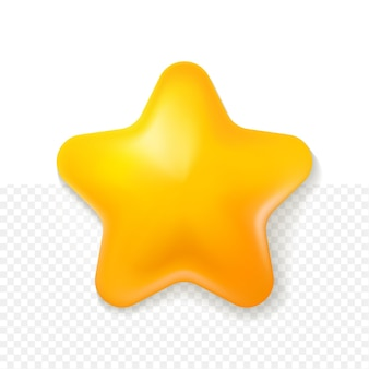 Estilo 3d de desenho animado estrela amarela com fundo branco transparente