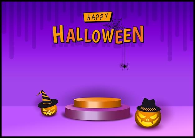 Estilo 3d de design de halloween com abóbora em fundo roxo