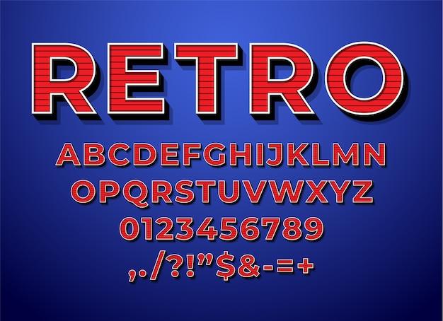 Estilo 3d de fonte de alfabeto vintage retrô