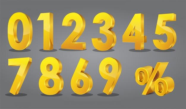 Estilo 3d de números dourados