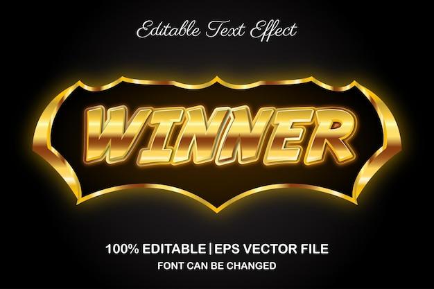 Estilo 3d do efeito de texto editável do vencedor do jogo
