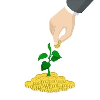 Estilo 3d isométrico plano, tempo, investimento, crescimento, conceito de arranque de negócios