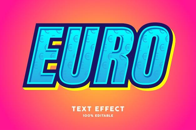 Estilo 3d moderno com efeito de texto padrão euro sinal