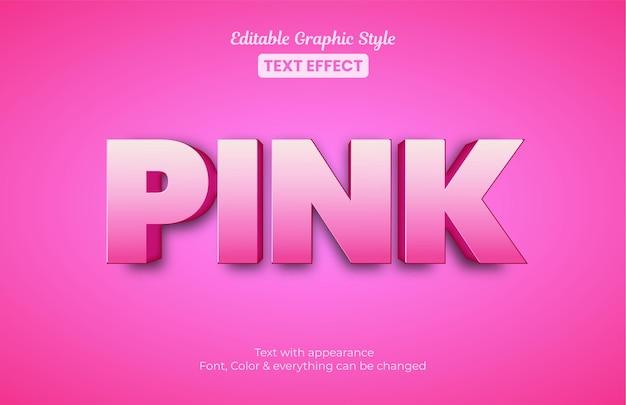 Estilo 3d rosa, efeito de texto de estilo gráfico editável
