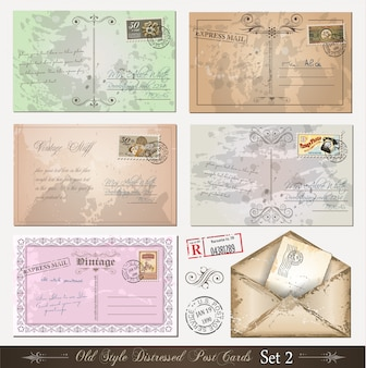 Estilo antigo afligido cartões postais