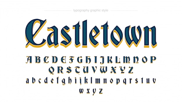 Estilo antigo dourado azul personalizado da tipografia