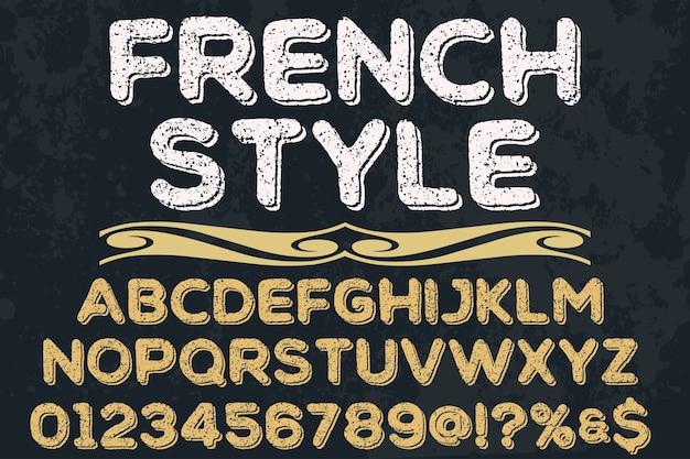 Estilo antigo estilo de design de rótulo de estilo francês