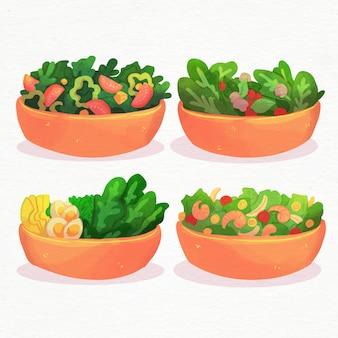 Estilo aquarela de tigelas de frutas e saladas