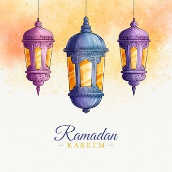 Estilo aquarela ramadan kareem