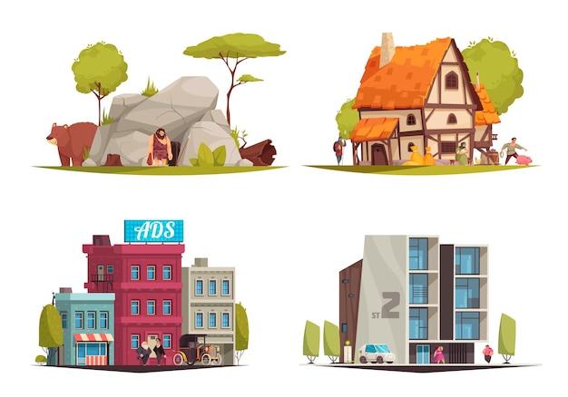 Estilo arquitetônico, diferentes épocas, com evolução de 4 composições de desenhos animados, desde uma caverna da idade da pedra a ilustrações de edifícios modernos