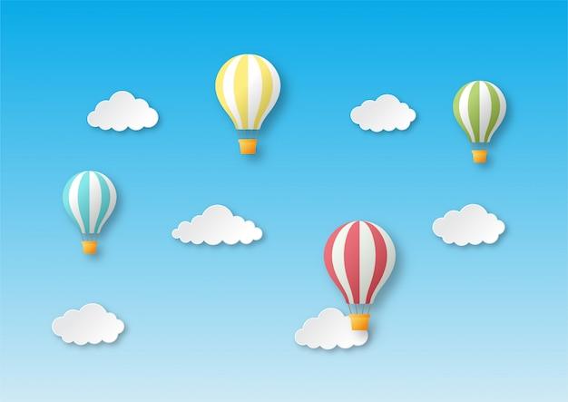 Estilo arte papel viajar com balão voando fundo.