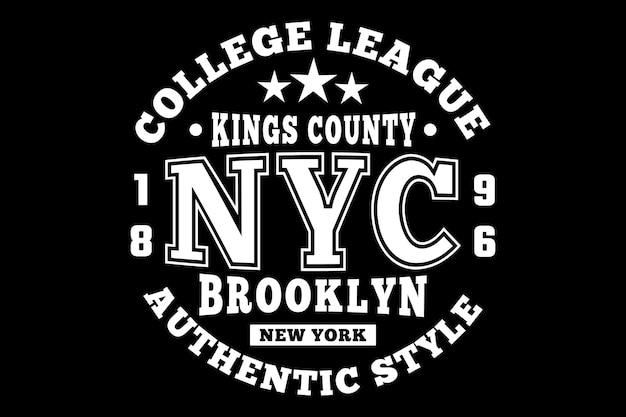 Estilo autêntico do brooklyn estilo vintage da liga universitária