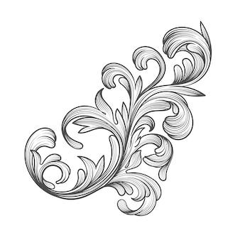 Estilo barroco de fronteira ornamental desenhada de mão