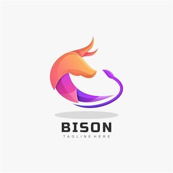 Estilo bison gradient colorido do logotipo.