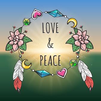 Estilo boho de emblema de amor e paz