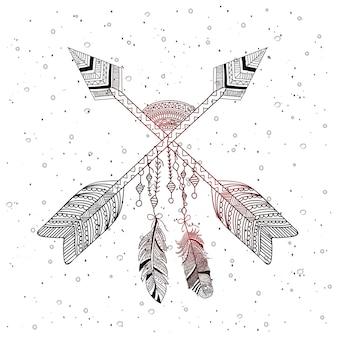 Estilo boho de flecha decorativa com penas