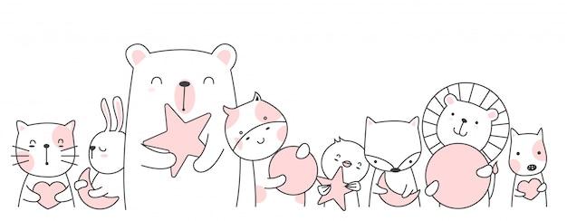 Estilo bonito dos desenhos animados animais mão desenhada