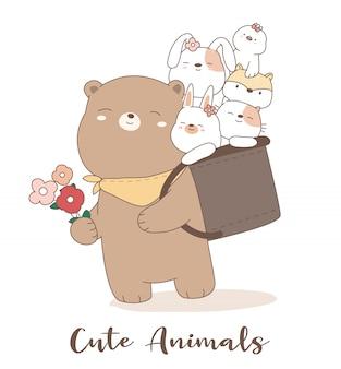 Estilo bonito dos desenhos animados mão animal dos desenhos animados
