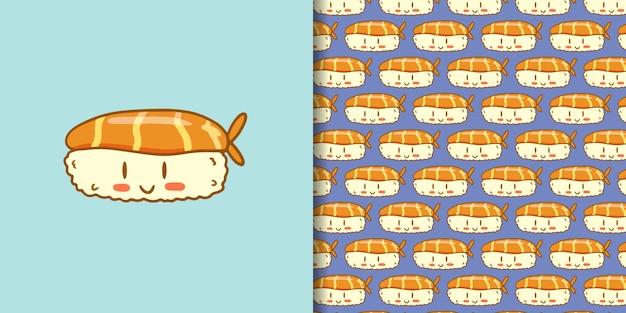 Estilo bonito dos desenhos animados mão desenhada sushi