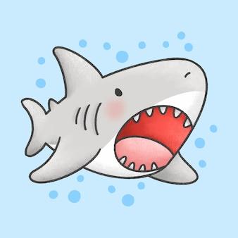 Estilo bonito dos desenhos animados mão desenhada tubarão