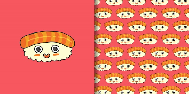 Estilo bonito dos desenhos animados sushi salmão mão desenhada