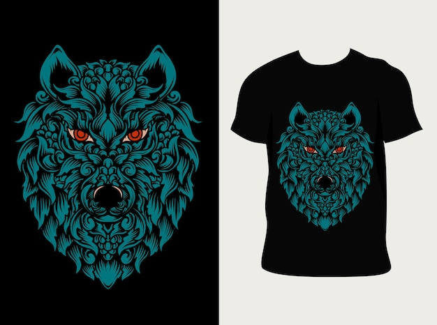 Estilo cabeça de lobo ornamento com design de camiseta