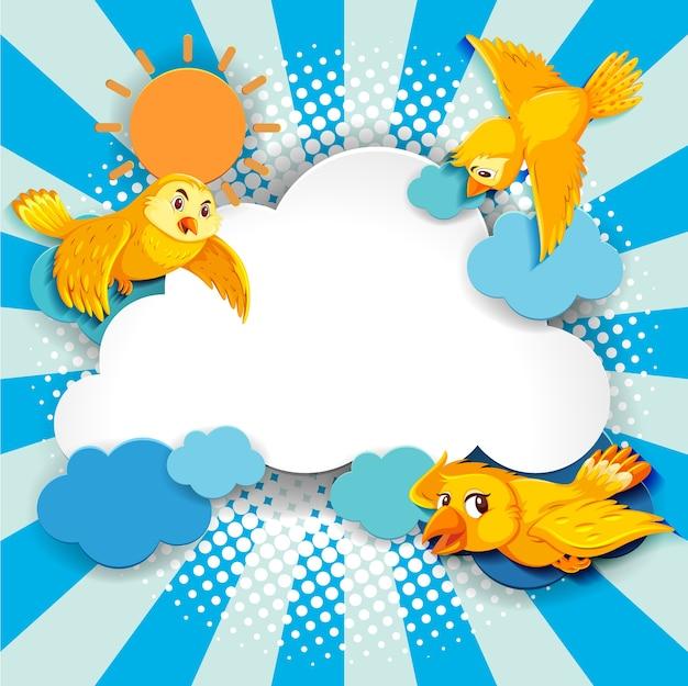 Estilo cartoon cômico de banner extravagante de pássaro