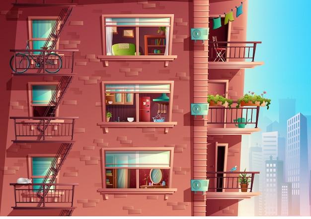 Estilo cartoon de construção de fachada em vista lateral com varandas e arranha-céus ao fundo. edifício de vários andares com janelas e portas, telhados da casa.