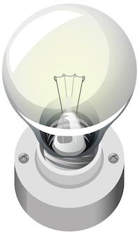 Estilo cartoon de lâmpada isolado no fundo branco