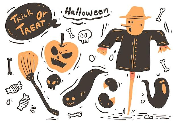 Estilo cartoon doodle de halloween. dia das bruxas
