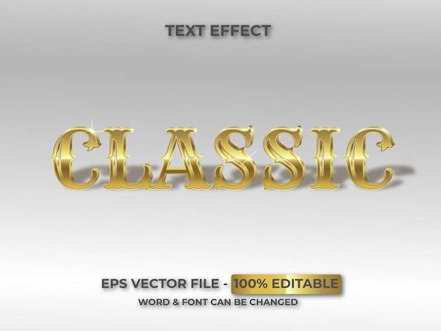 Estilo clássico de efeito de texto editável dourado