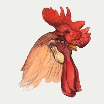 Estilo clássico de galo desenhado à mão, remixado de obras de arte de samuel colman