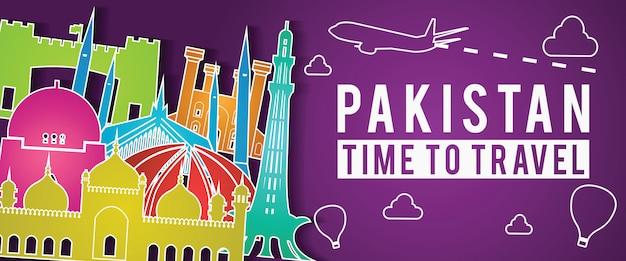Estilo colorido de silhueta de paquistão