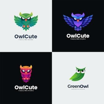 Estilo colorido do gradiente bonito da coruja da ilustração do logotipo.