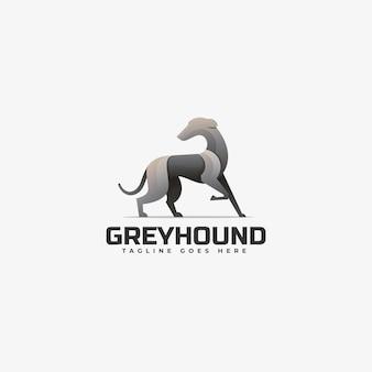 Estilo colorido do gradiente cinza hound do logotipo.