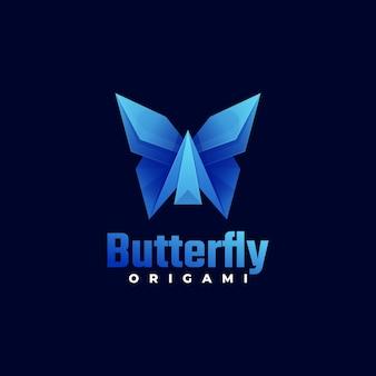 Estilo colorido do gradiente da borboleta do logotipo do vetor.