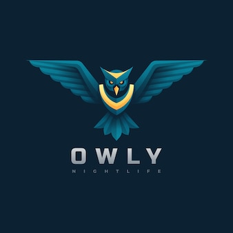 Estilo colorido do gradiente da coruja da ilustração do logotipo.