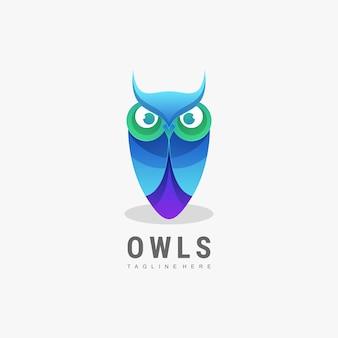 Estilo colorido do gradiente da coruja do logotipo