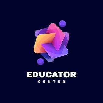 Estilo colorido do gradiente da educação do logotipo.